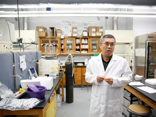 Teng Ma, a professor and chair of the Department of Biomedical Engineering at FSU, is pictured in his lab at FSU's College of Engineering Tuesday, April 24, 2018. Ma is part of a research effort looking at cell therapy as a treatment for stroke.