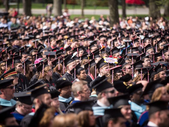 Happier Days: A Ball State University commencement ceremony in spring of 2018.