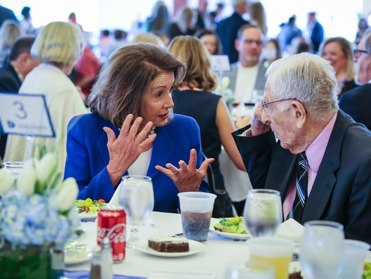 Democratic Leader Nancy Pelosi mingles at the Polk