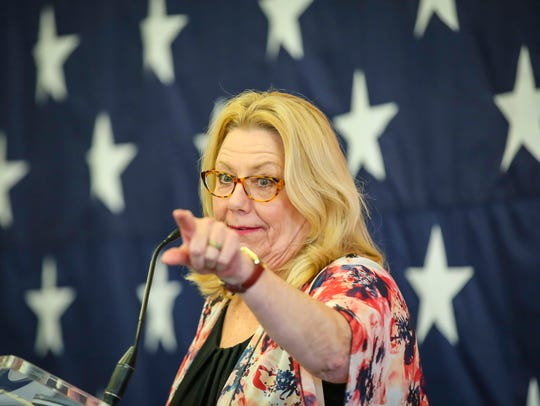 Senator Pam Jochum  speaks at the Polk County Spring