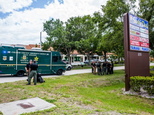 Authorities respond to Kwik Pick convenience store in a strip mall in North Naples about a suspicious package on Tuesday, May 15, 2018. The scene was cleared at 3:45 p.m.