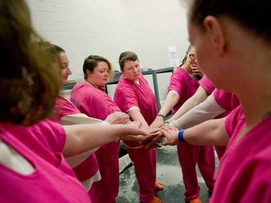 From left, cellmates Elsie Kniffen, 39, Mary Sammons,