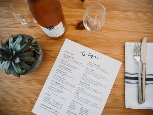 A menu at La Copine restaurant in Flamingo Heights