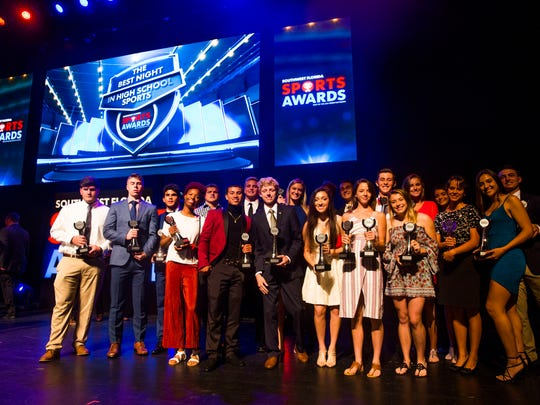 Collier county athletes of the year pose for a photo together on Wednesday, May 23, 2018 during the Southwest Florida Sports Awards at the Barbara B. Mann Performing Arts Hall in Fort Myers, Fla.