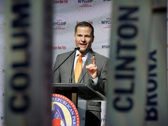 Dutchess County Executive Marc Molinaro delivers his designation acceptance speech as the Republican candidate for governor at the New York state Republican Convention, in New York, Wednesday, May 23, 2018. Delegates endorsed the 42-year-old Molinaro Wednesday at the GOP's state convention in Manhattan. He had faced a challenge for the nomination from state Sen. John DeFrancisco of Syracuse. (AP Photo/Richard Drew)