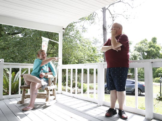 Shauna Griffen (left) and Larry Creamer (right) live near each other on Moon Lane. They are concerned about the number of registered sex offenders that live across the street from them.