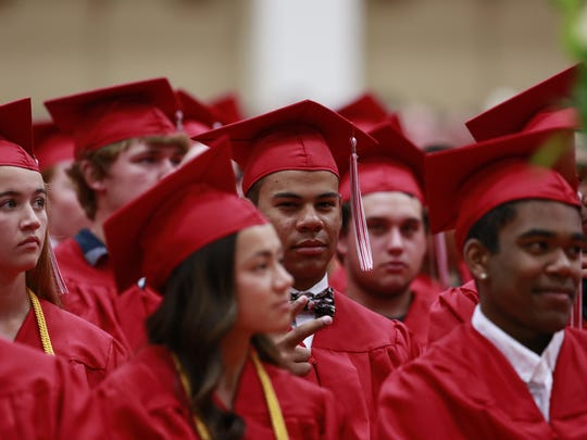 Wausau East High School held its 2018 graduation celebration Wednesday, May 30, 2018, at the high school gymnasium in Wausau, Wisc. T'xer Zhon Kha/USA TODAY NETWORK-Wisconsin