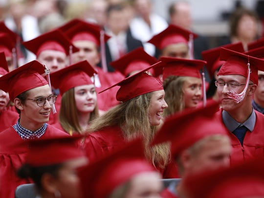 Wausau East High School held its 2018 graduation celebration Wednesday, May 30, 2018, at the high school gymnasium in Wausau. T'xer Zhon Kha/USA TODAY NETWORK-Wisconsin