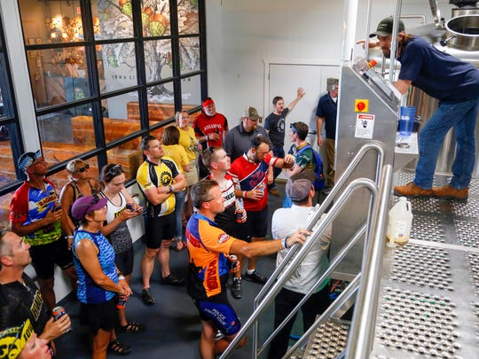Andy Joynt, head brewer at Big Grove Brewery leads riders on a tour  on day six of the 2018 RAGBRAI Pre-Ride Route Inspection Friday, June 8, 2018.
