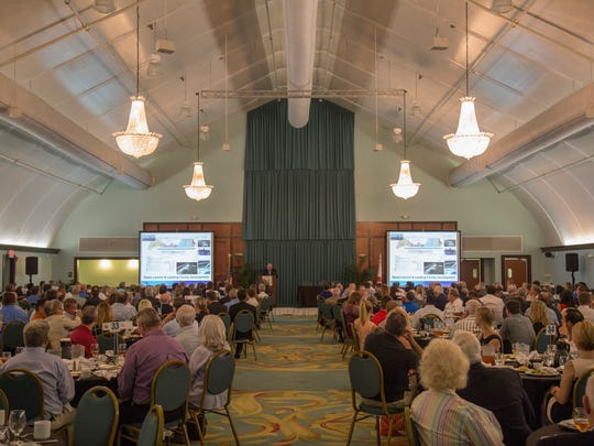 Frank DiBello, president and CEO of Space Florida, speaks during the June 12, 2018 National Space Club Florida Committee luncheon in Cape Canaveral.