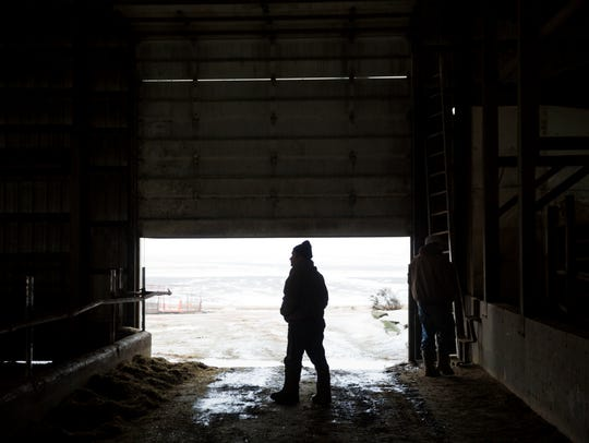 Bernard Moravits walks on his farm in Bloomington,