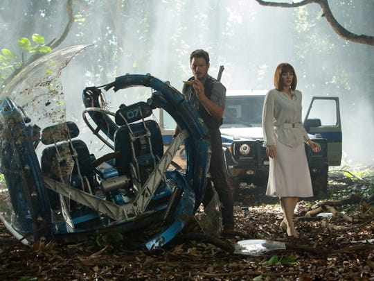 "Owen (Chris Pratt) wore boots and Claire (Bryce Dallas Howard) was stuck in her heels in 2015's ""Jurassic World."""