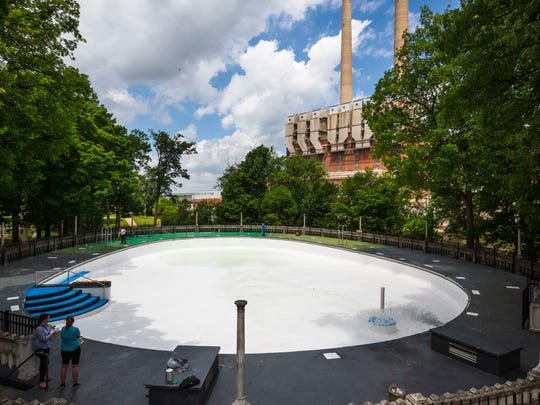 The egg shape of the Moores Park Pool is a defining characteristic of Bintz pools.