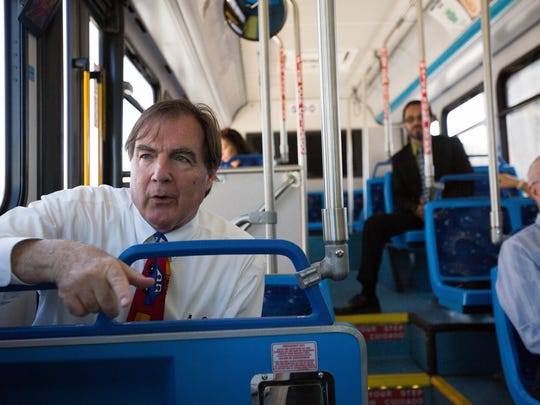Greg Smith, city councilor for district two, riding a bus around downtown talking about public transit in Las Cruces, Thursday June 21, 2018 for a short ride around downtown to celebrate the free fare day.