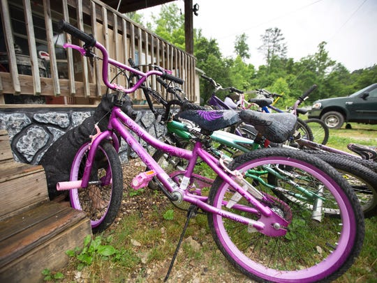 A slew of bikes, including this brightly colored purple