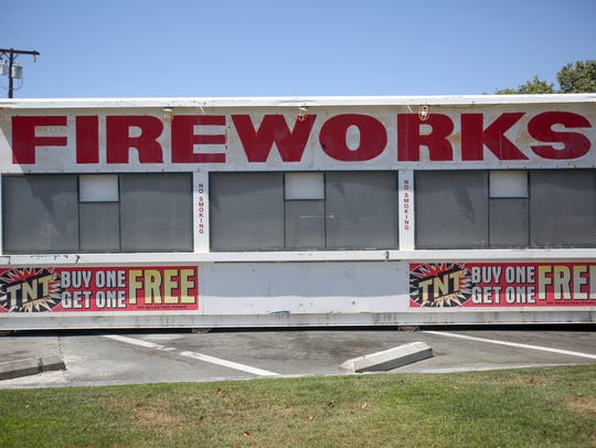 A fireworks stand going up at the 7-Eleven on Crossley
