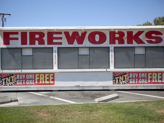 A fireworks stand going up at the 7-Eleven on Crossley Rd. and Ramon Rd in Cathedral City near the boundary with Palm Springs and the Palm Springs International Airport. Photo taken on Tuesday, June 26, 2018.