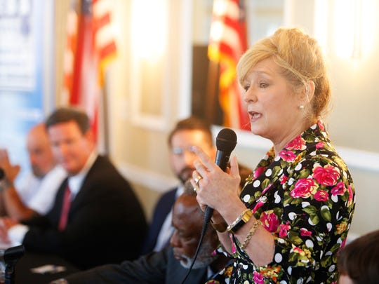 Tallahassee mayor candidate Michelle Rehwinkel Vasilinda pitches his campaign platform to members of the Network of Entrepreneurs and Business Associates at the Capital City Country Club on Tuesday.