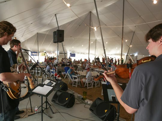 Members of G. Pat Harris band perform at the 45th annual