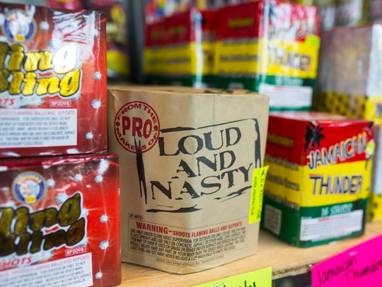 "A firework called ""Lound and Nasty"" sits on the shelf"