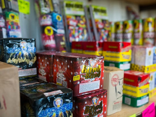 Fireworks sit on the shelf at Punishers Pyro firework stand on Farm-to-Market 43.