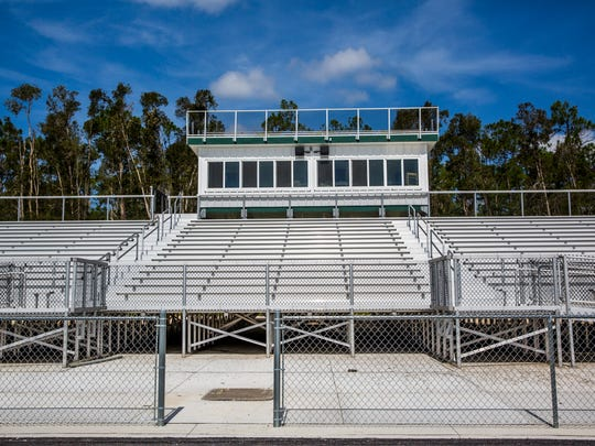 The football stadium bleachers at the newly constructed Bonita Springs High School on Friday, July 20, 2018. Classes will begin on August 10.
