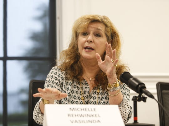 Tallahassee mayoral candidate Michelle Rehwinkel Vasilinda speaks to the Tallahassee Democrat editorial board.