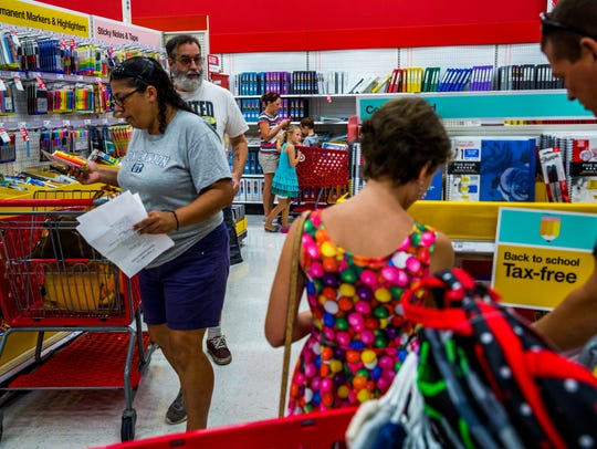 Families shop for school supplies at Target in North