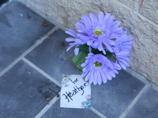A small memorial of flowers mark the spot where Heather