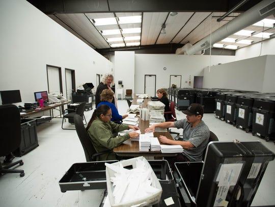 Members of the Doña Ana County precinct board work