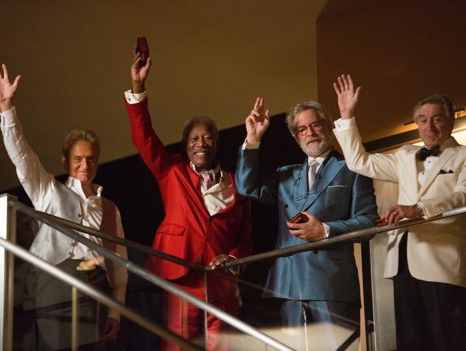 Photo from the motion picture 'Last Vegas.' Pictured left to right: Michael Douglas, Morgan Freeman, Kevin Kline, Robert De Niro Credit: Chuck Zlotnick, CBS Films LV_08910 (1)