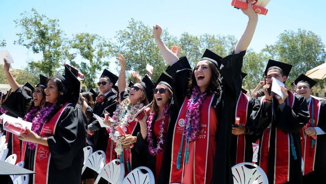 CSU Channel Islands students celebrate after graduating last year. This year's graduation ceremonies are set for Saturday.