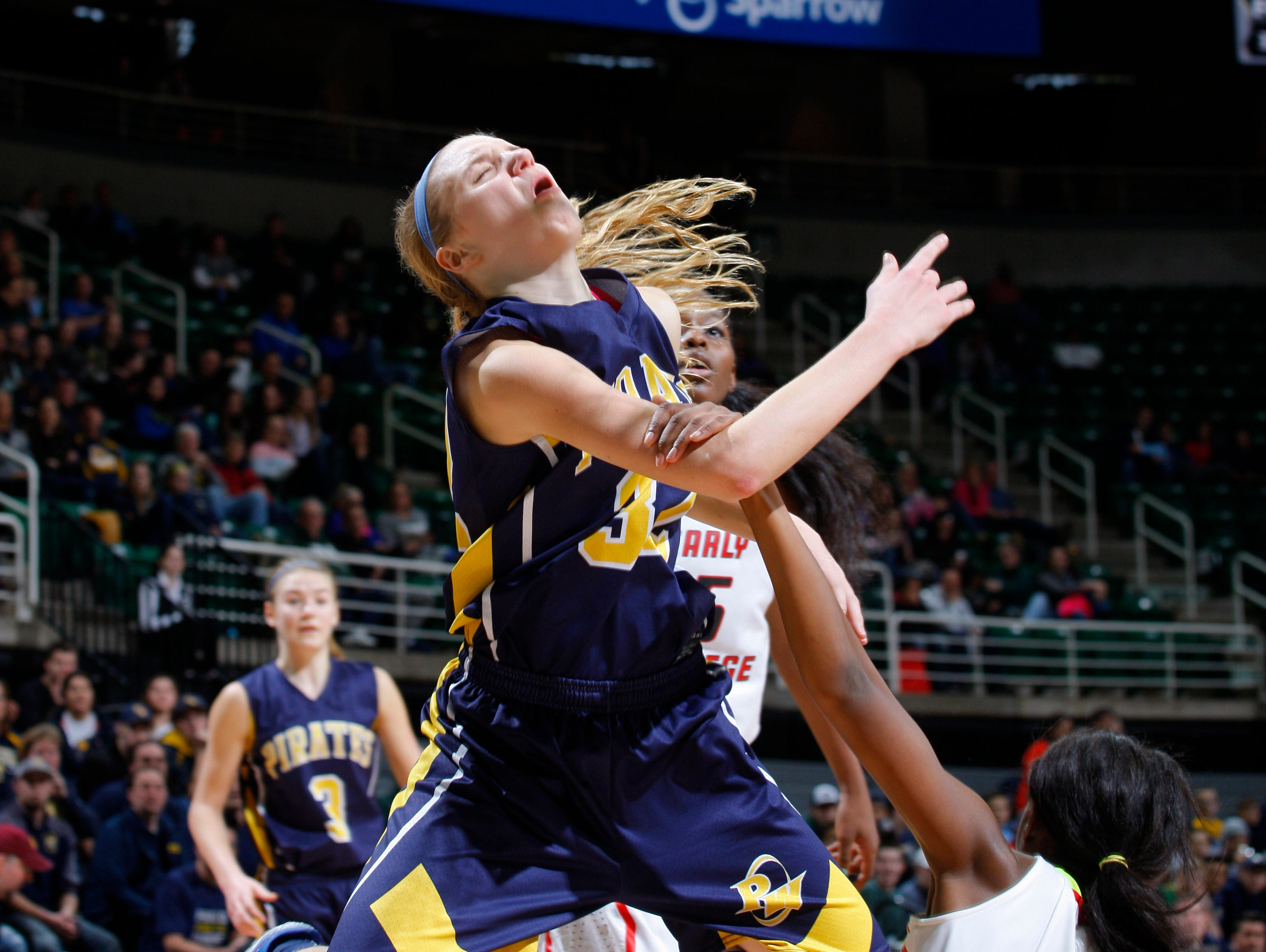 Pewamo-Westphalia's Emily Spitzley is hacked by Detroit Edison's Ariel Jenkins (4) during their MHSAA Class C championship game, Saturday, March 18, 2017, in East Lansing, Mich. P-W fell 46-44.