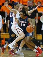 Arizona's Farrin Bell, right, is closely guarded by Oregon State's Katie McWilliams in the second half of an NCAA college basketball game in Corvallis, Ore., on Friday, Jan. 29, 2016. Oregon State won 71-43. (AP Photo/Timothy J. Gonzalez)