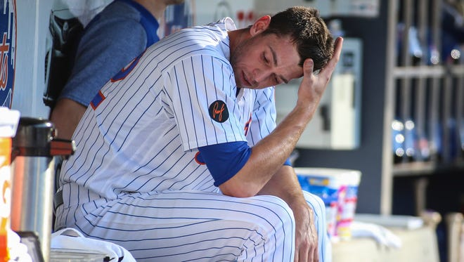 Jul 7, 2018; New York City, NY, USA; New York Mets pitcher Steven Matz (32) is taken out in the seventh inning against the Tampa Bay Rays at Citi Field.