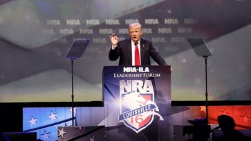 Donald Trump speaking at the NRA annual meeting in Louisville.