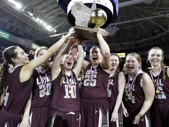 Members of the Loyal girls basketball team celebrate