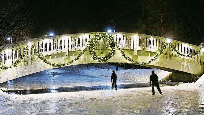 A wintry scene at Nestlenook Farm, a 65-acre Victorian estate in Jackson, where visitors can skate on the three-acre Emerald Lake.
