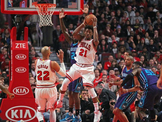NBA  Charlotte Hornets at Chicago Bulls. Chicago Bulls forward Jimmy Butler  ... 1b34fab1f9ff