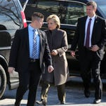 Hillary Clinton arrives and greets Robert P. Weisz, president of the RPW Group, for a fundraising breakfast at 1133 Westchester Avenue in White Plains Jan. 28, 20116.