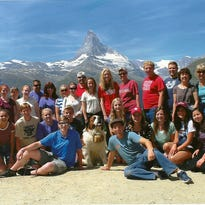 The Cedar High School representatives on the Utah Ambassadors of Music 2015 trip pose for a picture in the Swiss Alps above Zermatt, Switzerland.