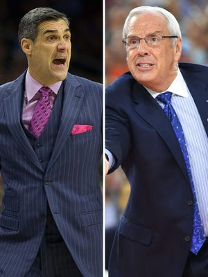 Jay Wright, left, and Roy Williams, right, square off in the national championship.