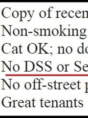 A local Craigslist ad says the landlord won't take Section 8 funding.