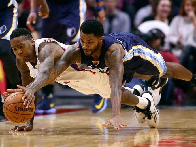 The Los Angeles Clippers' Jamal Crawford (left) and