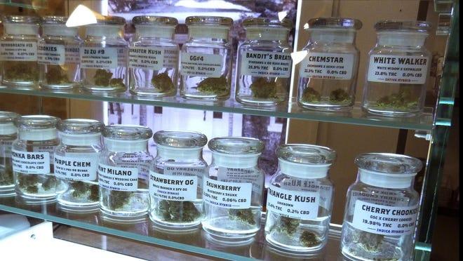 Marijuana shown on display in November at Arbors Wellness in the medical marijuana shop in Ann Arbor, Michigan.