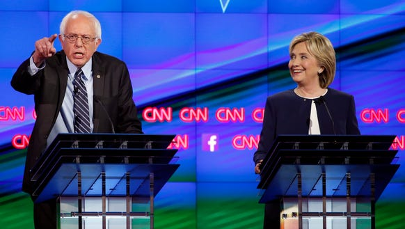 Sen. Bernie Sanders of Vermont debates Hillary Clinton