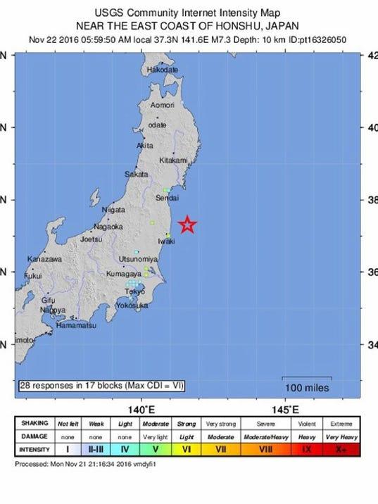 Magnitude Earthquake Strikes Off Fukushima Japan KINGcom - Japan quake map 2016