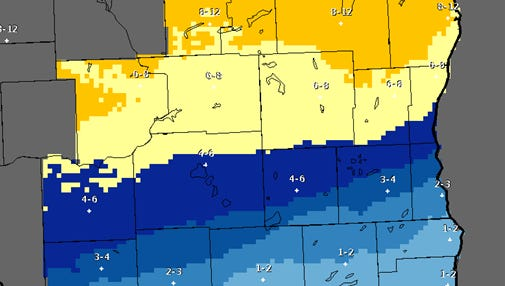National Weather Service predicts 6 to 12 inches of snow for Sheboygan County Wednesday evening into Thursday.
