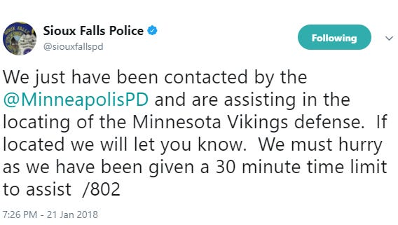 A tweet from the Sioux Falls Police Department on Jan. 21, 2018