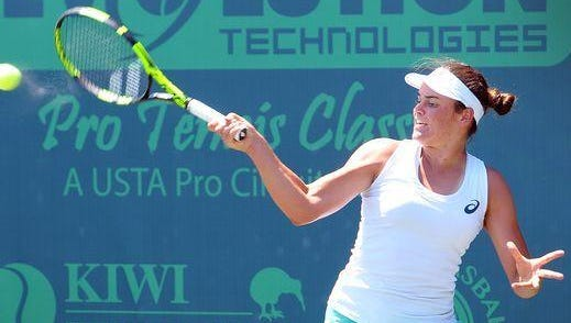 Jennifer Brady returning a shot from opponent Taylor townsend during the finals of the 2016 Women's Proo Tennis Classic at Kiwi tennis club.
